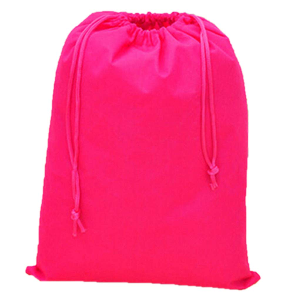 yingyue Solid Color Portable Multi-Use Shoe Storage Bags Pouch Organizer Home School Travel Accessories Rose-Red