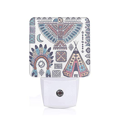 (Colorful Plug in Night,Ethnic Teepee Tents Eagle Symbol Moon Sun and Feather Chief Hat Print,Auto Sensor LED Dusk to Dawn Night Light Plug in Indoor for Childs Adults)