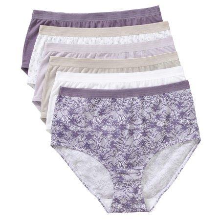 Secret Treasures Ladies 100% Cotton Brief Panty, 6 pack ( Size : 6 )