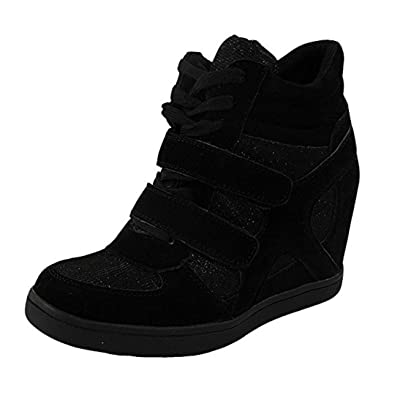 717afeabe606 Loud Look Womens Ladies Lace up Velcro Sneakers Trainers High Wedge Heel  Ankle Boots Size 3