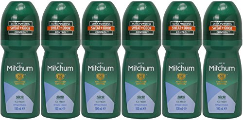 Price comparison product image Mitchum for Men Roll On, Endurance 48 Hours, Ice Fresh, Anti-perspirant & Deodorant, 100 Ml / 3.38 Oz (Pack of 6)