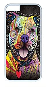 iphone 6 plus 5.5inch Case and Cover Beware of Pit Bulls TPU Silicone Rubber Case Cover for iphone 6 plus 5.5inch White WANGJING JINDA