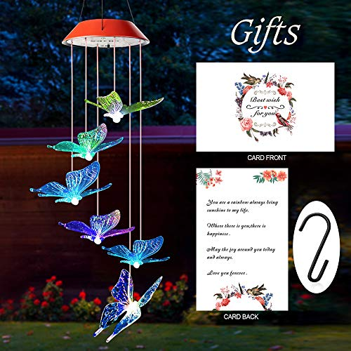 Wind Chimes Outdoor, Gifts for mom, Solar Wind Chimes,Butterfly Wind Chime,Solar Mobile Butterfly, mom Gifts,Birthday Gifts for mom,Gardening Gifts, Wind Chimes Solar,windchimes Unique Outdoor