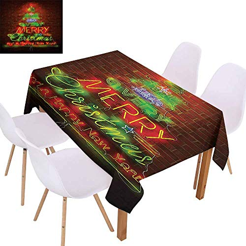 UHOO2018 Christmas,100% Polyester Tablecloth,Neon Lights Sign Have a Merry Xmas and Happy New Year Phrase Against The Wall,Easy Care and Durable,Burgundy Green,73
