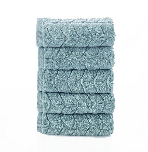 Bagno Milano Ultra Soft Plush Towels, Aqua Fibro World's Finest Natural, untreated GMO free Turkish Cotton (5 Pieces Washcloth Set, Aqua Green) (5 Piece Washcloth Set)