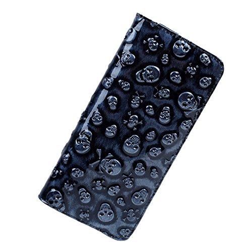 womens-classical-leather-skull-designer-clutch-purses-wristlet-wallets-black