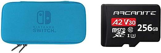 Hori, Funda Rígida Azul (Nintendo Switch Lite) + ARCANITE, tarjeta de memoria microSDXC de 256 GB con adaptador SD, A2, UHS-I U3, V30, 4K, C10, Micro SD, Velocidad lectura hasta 95 MB/s: