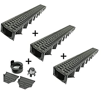 ACO HexaLine Entwässerungsrinne SET Stegrost Kunststoff 3 x 1 m inkl Kit