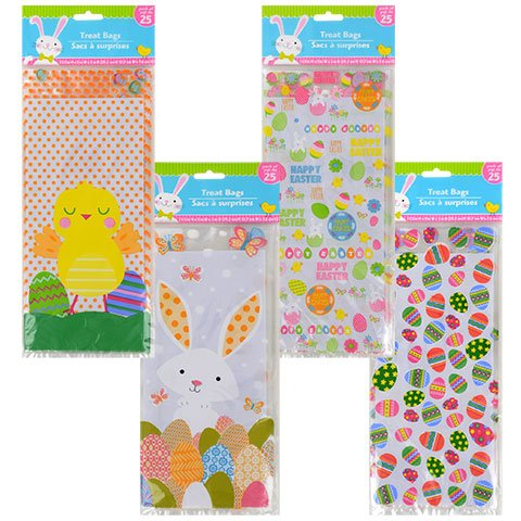 Easter-Themed Cello Loot Bags, 25-ct.Each Assorted Among 4 Styles Shown 11.5 in - Pack of 4
