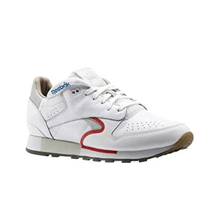 ... Reebok Classic Leather Urge (White Cool Grey RED Blue) Men s Shoes ... 3422c6de6