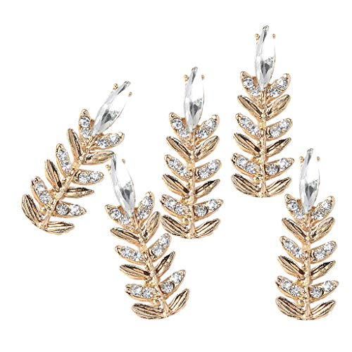 SM SunniMix Pack of 5 Pcs Women's Fine Crystal Wedding Brnach Leaf Brooch Pins Alloy Rhinestone Flatback Buttons for Crafts Jewelry Suuplies