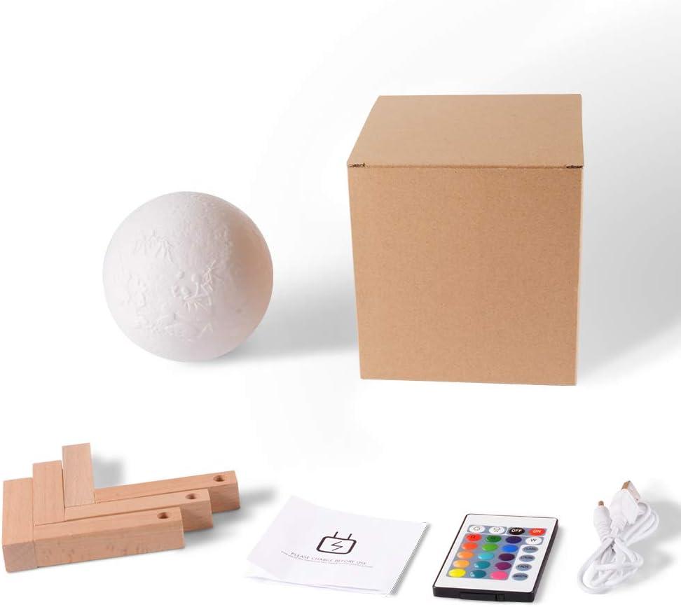E-Globuy Immagine Personalizzata Luna Lampada Personalizzato 3D Stampato Moon Night Light con Telecomando del Supporto dimmerabile 18cm Luce Notturna luci Decorative per Camera Bambini Bambini