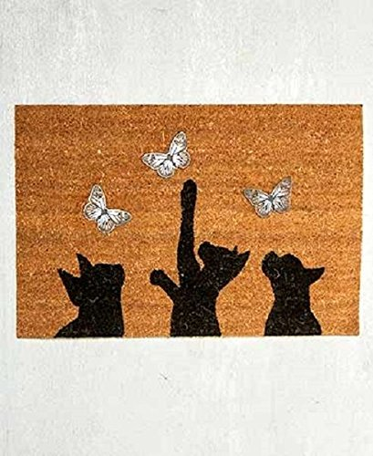 [Cat Kitten Silhouette Butterfly Welcome Mat Home Porch Entryway Rug Coir] (Halloween Us Dont Metal With Evil)