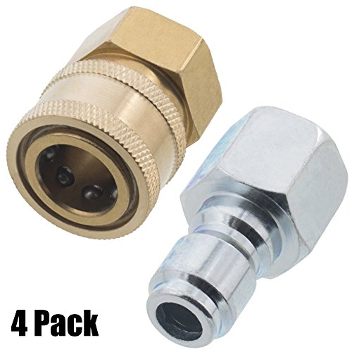 Erie Tools 4 Pressure Washer 3/8 Female NPT Quick Connect Brass Socket Set and Plug, High Temp, 4000 PSI, 10.5 GPM by Erie Tools