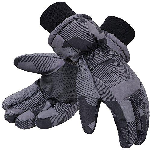 Simplicity Men's 3M Thinsulate Winter Waterproof Ski Gloves,Black,L (Waterproof Mens Ski Glove)