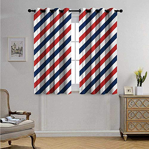 Harbour Stripe Waterproof Window Curtain Vintage Barber Pole Helix of Colored Stripes Medieval Contrast Design Blackout Drapes W55 x L39(140cm x 100cm) Blue Red White