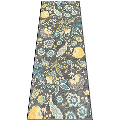 Silk & Sultans Agathe Collection Floral Design, Pet Friendly, Non-Skid Runner Rug with Rubber Backing, 2'x6' Grey (Runner Carpet Floral)