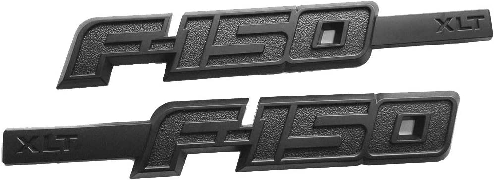 2x Black F-150 XLT Drivers Side Fender Emblems 3D Badge Car Decals Replacement for F150