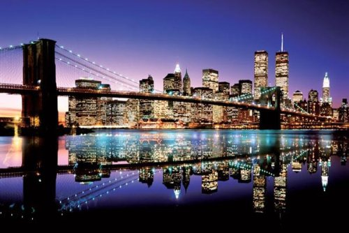 Tower Small Poster - Brooklyn Bridge NYC Skyline Twilght Color Photo Poster Print