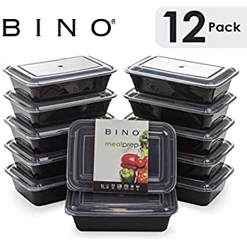 BINO Meal Prep Containers with Lids - 1 Compartment /33 oz [12-Pack], Black - Bento Box Lunch Containers for Adults Food Containers Meal Prep Food Prep Containers Set