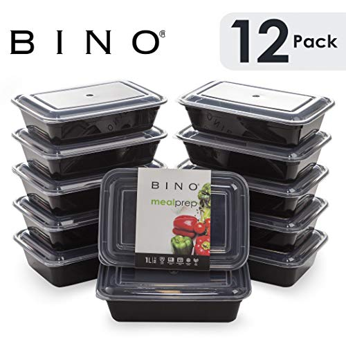 9 Inch Single Compartment Plastic Container - BINO Meal Prep Containers with Lids - 1 Compartment /33 oz [12-Pack] - Bento Box Lunch Containers for Adults Food Containers Meal Prep Food Prep Containers Tupperware Set
