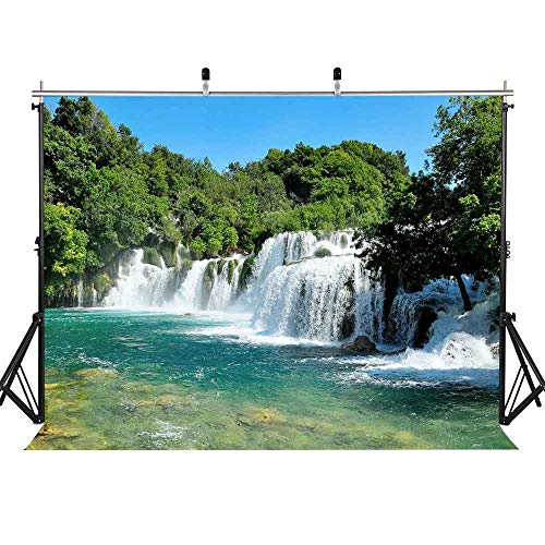 (FLASIY Nature Landscape Waterfall Photography Backdrops 7x5ft Green Trees Mountain River Background for Children Party YouTube Studio Photo Video Props GEAY006)