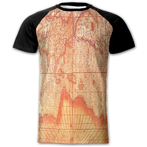 ETDragon Man jesuit Chinese World Map Early 17th Century Cool Fashion Short Sleeve Shirt Large - 17th Century Shirts