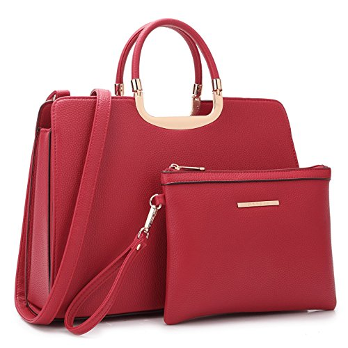 Designer Women Laptop Briefcase, Large Handbag for Lady PU Leather Satchel Lightweight Tote Summer Cross-Body Purse 19-2828 RD