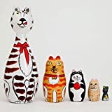 """Bits and Pieces - """"Cleo & Friends"""" Nesting Cats-Hand Painted Wooden Nesting Dolls Matryoshka - Set of 5 Dolls From 7"""" Tall with Gift Box"""