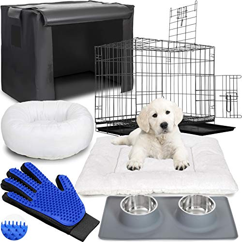 (Deco Pet Essential Pet Supplies Bundle- Indoor Pet Kennel Metal Folding Crate, Indoor/Outdoor Cover & Pad, Orthopedic Bolster Bed with Washable Cover, Pet Grooming Glove & Stainless Steel Feeding Bowl)
