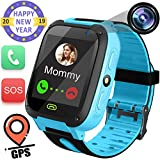 Kids Smart Watch with GPS Tracker- 1.44' Smart Watch Phone for Boys Girls with SIM Card Slot SOS Camera Pedometer Kids Wearable Digital Watch Bracelet Wristband Holiday Birthday Gifts (Blue)