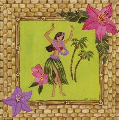 Tiki Girl I by Jennifer Brinley - 9x9 Inches - Art Print Poster