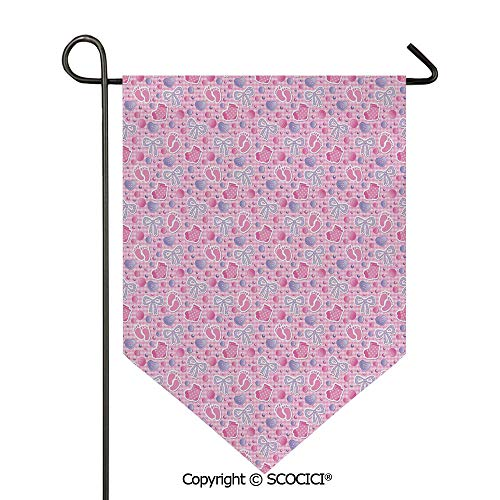 Easy Clean Durable Charming 12x18.5in Garden Flag Bows and Bootes Buttons Ribbon Infant Elements Birthday Theme on Tartan Display Decorative,Pale Pink Mauve Double Sided Printed,Flag pole NOT include