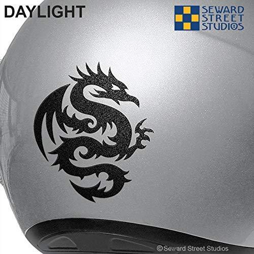 Round Dragon Bike Reflector Sticker #303R Reflective Tribal Dragon Decal Tattoo Dragon Motorcycle Decal // 3.75h x 3w