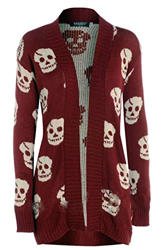 Thever Women Ladies Halloween Skull Skeleton Print Open Front Knitted Cardigan (S/M(6-8), Wine)