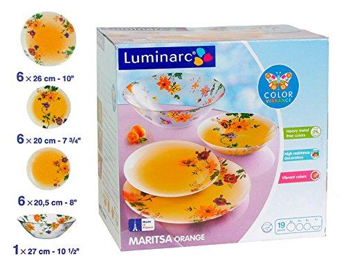 Luminarc ''Maritsa Orange'' Unbreakable Tempered Glass 19-pcs Dinnerware Set, Orange colored vintage dish set