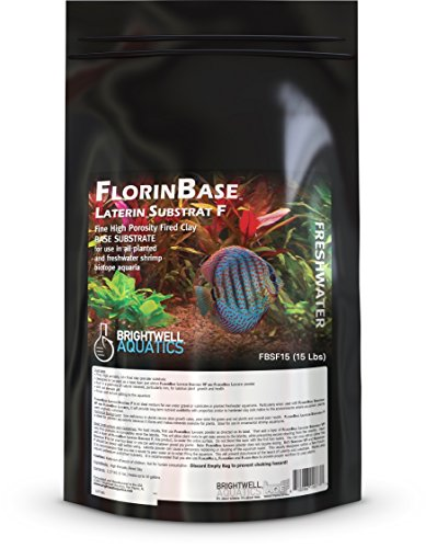 Brightwell Aquatics FlorinBase Laterin Substrat F, Fine Granular High Porosity Clay Base Substrate for use in Planted and Freshwater Shrimp biotope Aquaria, 15 Lbs ()