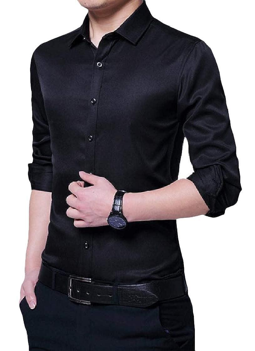 YUNY Mens Lapel Long Sleeve Plus-Size Pure Colour Button Slim T-Shirts Shirt Black L