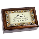 Cottage Garden Mother You are Jeweled Dark Wood Finish Jewelry Music Box - Plays Tune Amazing Grace