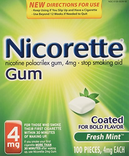 Nicorette Nicotine Gum Stop Smoking Aid, Fresh Mint, 4 milligram, 200 - Nicotine Replacement