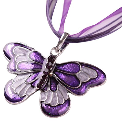 Hunputa Womens Girls Fashion Jewelry Enamel Butterfly Crystal Pendant Necklace Chain (Purple)