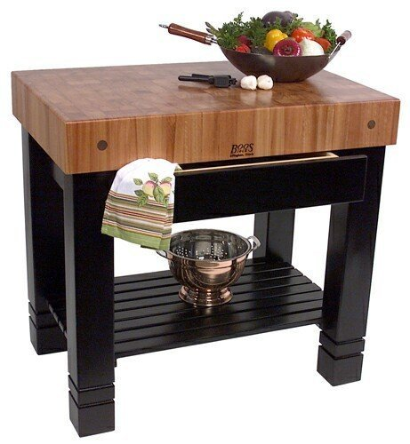 John Boos Cherry Top Table w Black Painted Base