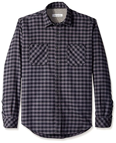 Campbell Flannel - James Campbell Men's Paradigm Check Flannel Long Sleeve Shirt, Black, M
