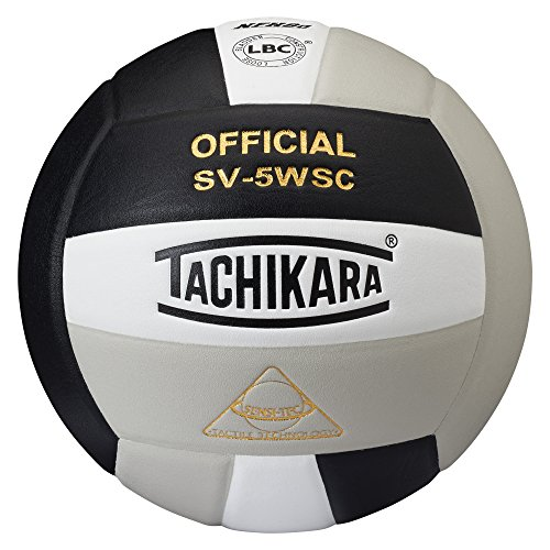 Tachikara Sensi-Tec Composite High Performance Volleyball (Black/White/Silver Gray)