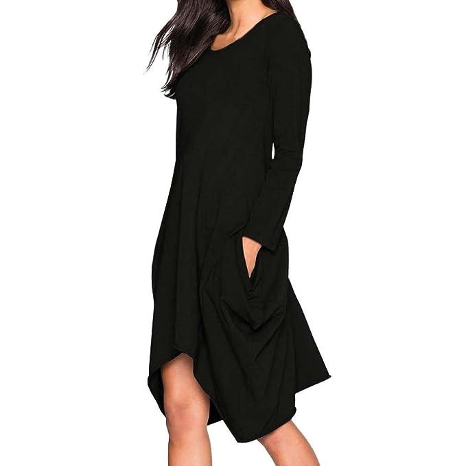 Señora Vestido de Manga Larga, Beikoard Falda de Bolsillo del Cuello, Vestido de Dobladillo