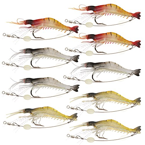 Goture Soft Lures Shrimp Bait Set, Fishing Lure for Freshwater/ Saltwater, Trout Bass Salmon,9 (0.25 Ounce 4/0 Hooks)