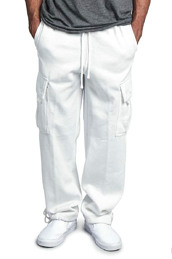 Frieed Mens Cargo Loose Fit Casual Multi Pockets Flat-Front Pants