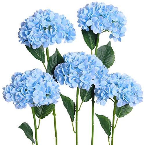 PARTY JOY 5PCS Artificial Hydrangea Silk Flowers Bouquet Faux Hydrangea Stems for Wedding Centerpieces Home Decor (Light Blue, (Blue Stem)