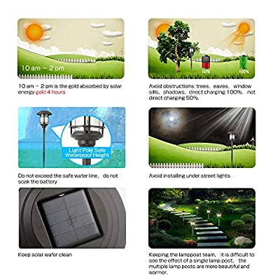 Azirier Solar Pathway Lights Landscape Lights Stainless Steel Outdoor Bright Warm White Solar Powered LED Garden Lights for Lawn, Patio, Yard, 4Pack : Garden & Outdoor