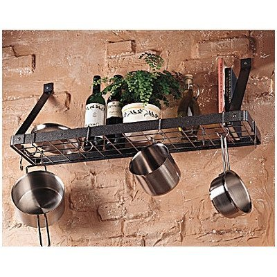 The Gourmet Bookshelf Wall Mount Pot Rack with Grid Color - Hammered Steel with Chrome Features